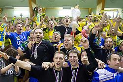 Alem Toskic of Celje, Gasper Marguc of Celje, Sebastian Skube of Celje, Dejan Peric with fans Celjski grofje celebrate after winning the  handball match between RK Celje Pivovarna Lasko and RK Gorenje Velenje in final of Slovenian Cup 2013, on March 3, 2013 in Arena Tri Lilije, Lasko, Slovenia. Celje PL defeated Gorenje Velenje 28-24 and became Slovenian Cup Champion 2013. (Photo By Vid Ponikvar / Sportida)