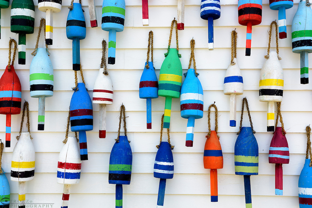 Hand made decorative bouys, Stonnington, Maine, USA