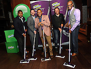 Anthony Anderson, center, has fun with real dads from the #SwifferDad video, Tuesday, April 14, 2015, in New York, to celebrate the modern dad and the positive effect of his hands-on role in the home.   Anthony served as creative advisor for the video which showcases the dads and their kids.  Pictured, from left to right, are Mike Johnson, Beau Coffron, Patrick Carrie and Doyin Richards.  (Photo by Diane Bondareff/Invision for Swiffer/AP Images)