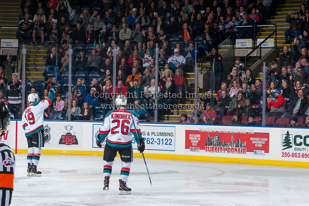 KELOWNA, CANADA - NOVEMBER 11: Dillon Dube #19 and Liam Kindree #26 of the Kelowna Rockets skate to the boards to celebrate a goal with fans against the Red Deer Rebels on November 11, 2017 at Prospera Place in Kelowna, British Columbia, Canada.  (Photo by Marissa Baecker/Shoot the Breeze)  *** Local Caption ***