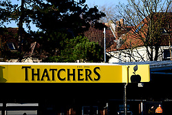 Thatchers end signage - Mandatory by-line: Ryan Hiscott/JMP - 01/12/2019 - FOOTBALL - Memorial Stadium - Bristol, England - Bristol Rovers v Plymouth Argyle - Emirates FA Cup second round