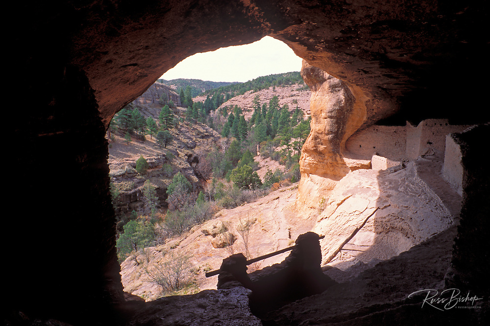 Looking out from the main ruin at Gila Cliff Dwellings, Gila Cliff Dwellings National Monument, New Mexico
