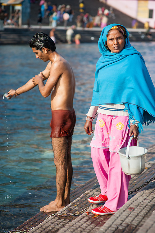 Man washing by the Ganges at Haridwar (India)