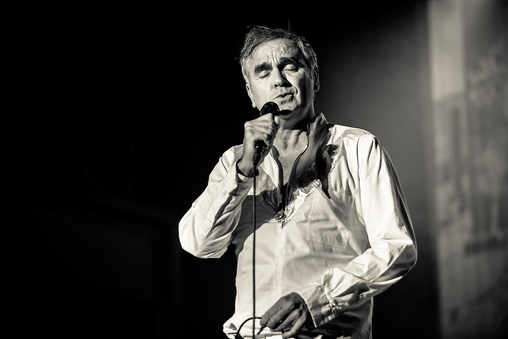MORRISSEY live at Palladium Cologne during &quot;The World Peace Is None of Your Business&quot; Tour 2015. The lyricist and vocalist of the former rock band The Smiths is an important innovator in the indie music scene and known for his contrarian opinions and as a fiercful animal protectionist.<br /> <br /> <br /> &copy; IRIS EDINGER   Photography