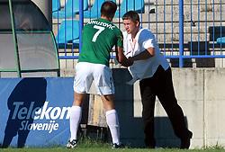 Edin Junuzovic (7) of Rudar and Head coach of Rudar Marjan Pusnik at 6th Round of PrvaLiga Telekom Slovenije between NK Primorje Ajdovscina vs NK Rudar Velenje, on August 24, 2008, in Town stadium in Ajdovscina. Primorje won the match 3:1. (Photo by Vid Ponikvar / Sportal Images)