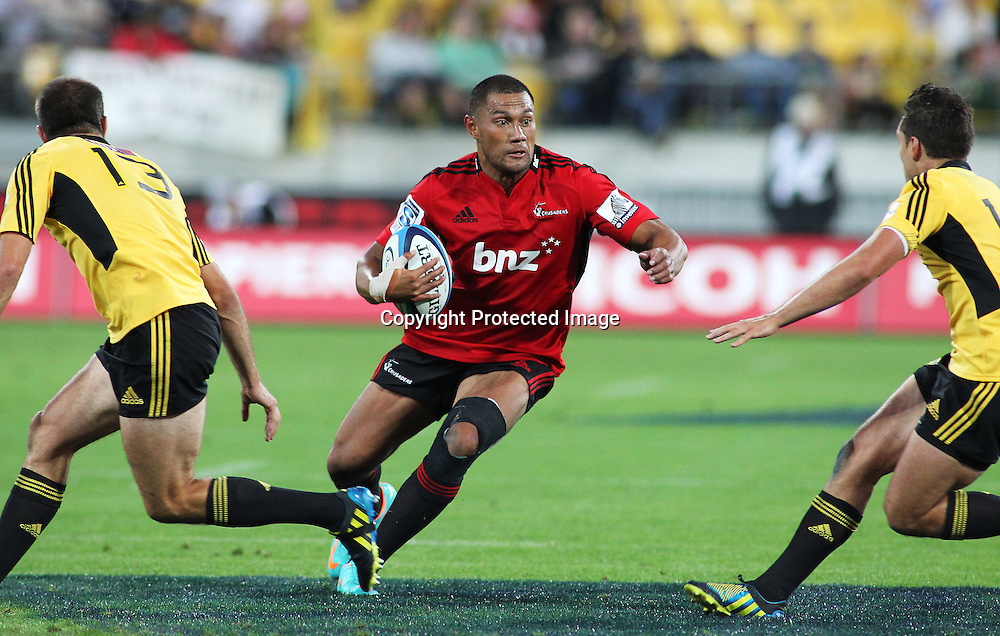 Crusaders' Robbie Fruean runs the ball during Super Rugby match, Hurricanes V Crusaders at Westpac Stadium, Wellington, Friday 8 March 2013. Photo.: Grant Down / photosport.co.nz