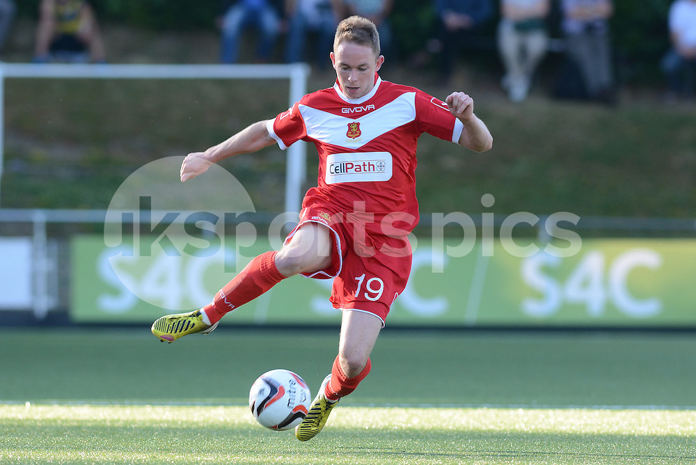 Newtown's Craig Williams during the Europa League Qualifying match between Newtown AFC and Valletta FC at Paveways Latham Park Stadium, Newtown, Powys, Wales on 2 July 2015. Photo by Garry Griffiths.
