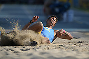 Apr 14, 2018; Los Angeles, CA, USA; Idrees Bernard of UCLA wins the triple jump at 51-2 1/4 (15.60m) during the Rafer Johnson/Jackie joyner-Kersee Invitational at Drake Stadium.