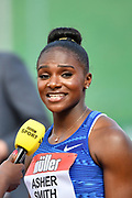 Dina Asher-Smith (GBR) after finishing second in a time of 22.36 in the 200m women race during the Birmingham Grand Prix, Sunday, Aug 18, 2019, in Birmingham, United Kingdom. (Steve Flynn/Image of Sport via AP)