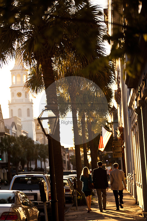 Broad Street and St Michael's Church in Charleston, SC.