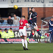 Dundee&rsquo;s Marcus Haber rises above Hamilton&rsquo;s Mikey Devlin - Dundee v Hamilton Academical in the Ladbrokes Scottish Premiership at Dens Park, Dundee, Photo: David Young<br /> <br />  - &copy; David Young - www.davidyoungphoto.co.uk - email: davidyoungphoto@gmail.com