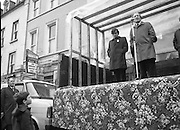Image of Fianna Fáil leader Charles Haughey touring West Cork during his 1982 election campaign...04/02/1982.02/04/82.4th February 1982..Voice from above:..In this shot Mr Haughey put his skills of public speaking to the test on the streets of West Cork.