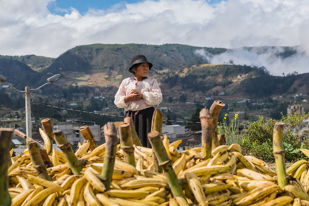 A young girl from the Saraguro community in the highlands of Ecuador is selling plantains, Saraguro, Ecuador.