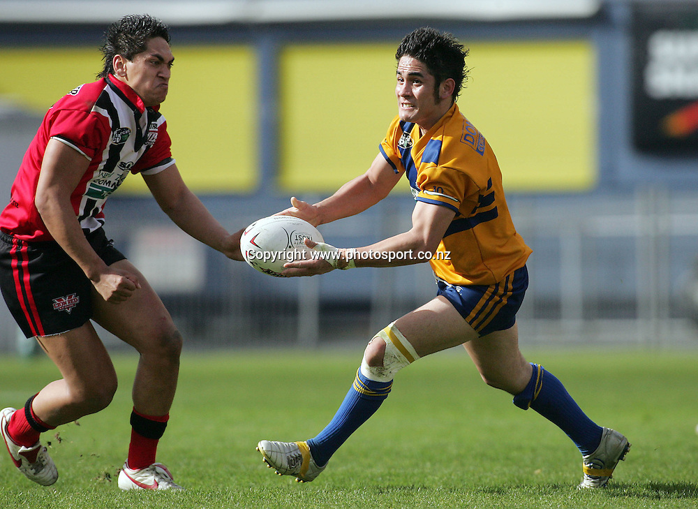 Bernard Perenara during the Bartercard Cup Final between Mt. Albert and Canterbury at Ericsson Stadium, Auckland, New Zealand on Sunday September 18, 2005. Mt. Albert won the match, 24 - 22. Photo: Hannah Johnston/PHOTOSPORT<br />