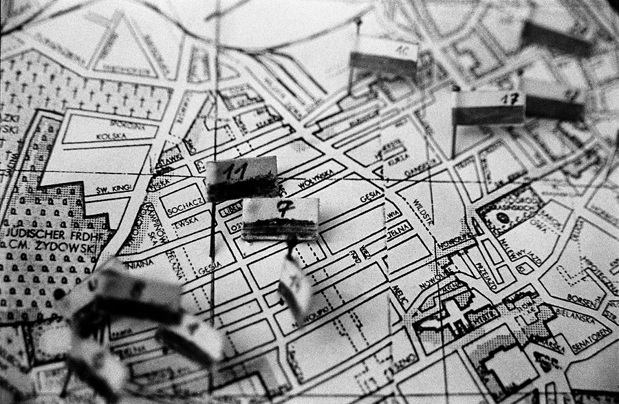 Inside Zośka Battalion High School in Warsaw. A map that describes the situation during 1944 Warsaw Uprising.