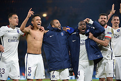 09.03.2016, Stamford Bridge, London, ENG, UEFA CL, FC Chelsea vs Paris Saint Germain, Achtelfinale, Rueckspiel, im Bild van der wiel gregory, marquinhos, lucas moura, matuidi blaise, motta thiago, ibrahimovic zlatan // during the UEFA Champions League Round of 16, 2nd Leg match between FC Chelsea vs Paris Saint Germain at the Stamford Bridge in London, Great Britain on 2016/03/09. EXPA Pictures © 2016, PhotoCredit: EXPA/ Pressesports/ MOUNIC ALAIN<br /> <br /> *****ATTENTION - for AUT, SLO, CRO, SRB, BIH, MAZ, POL only*****