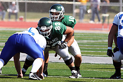 17 September 2011: Rob Gallik under center Nick Varchetto during an NCAA Division 3 football game between the Aurora Spartans and the Illinois Wesleyan Titans on Wilder Field inside Tucci Stadium in.Bloomington Illinois.
