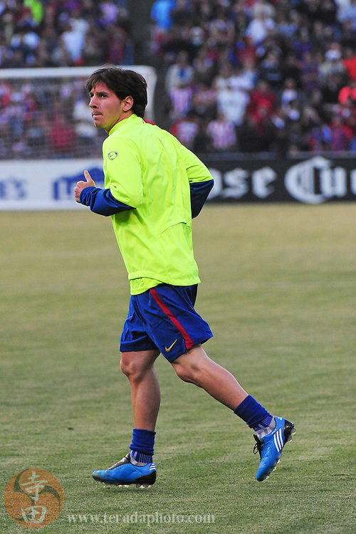 August 8, 2009; San Francisco, CA, USA; FC Barcelona forward Lionel Messi (10) warms up before the match in the Night of Champions international friendly contest against Chivas de Guadalajara at Candlestick Park.