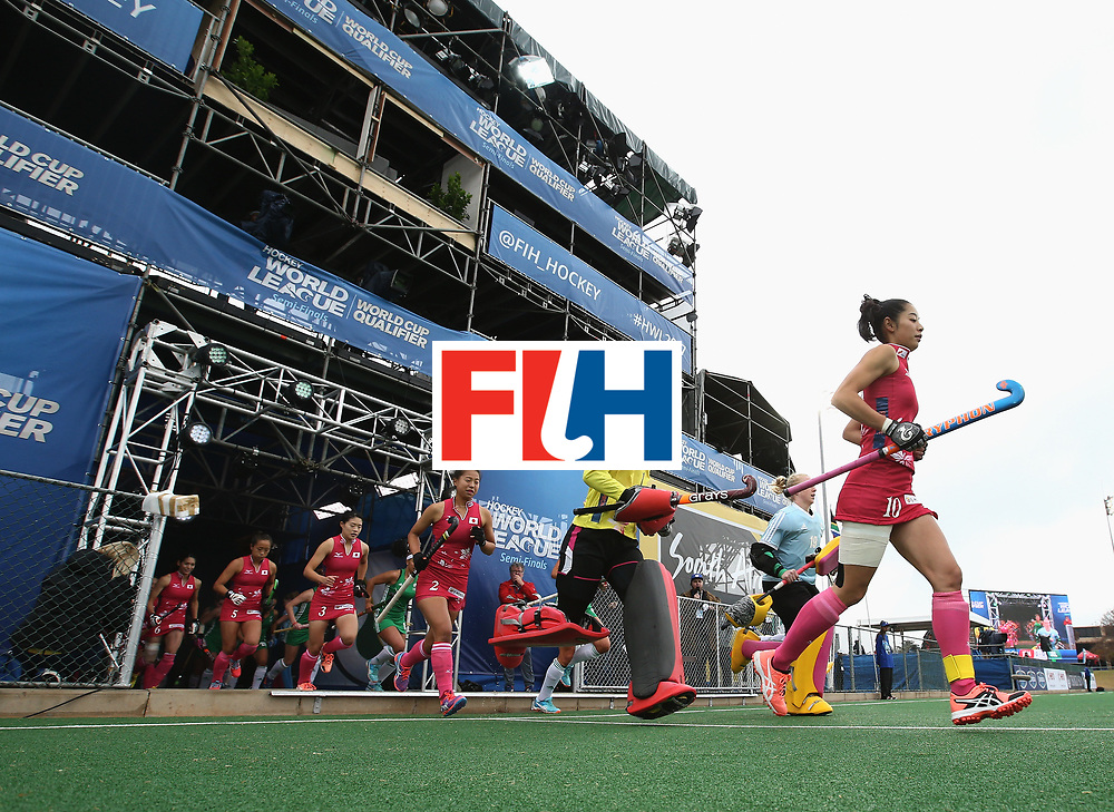 JOHANNESBURG, SOUTH AFRICA - JULY 8: Japan players run out prior to the pool A match between Japan and Ireland on day one of the FIH Hockey World League Semi-Final at Wits University on July 8, 2017 in Johannesburg, South Africa. (Photo by Jan Kruger/Getty Images for FIH)