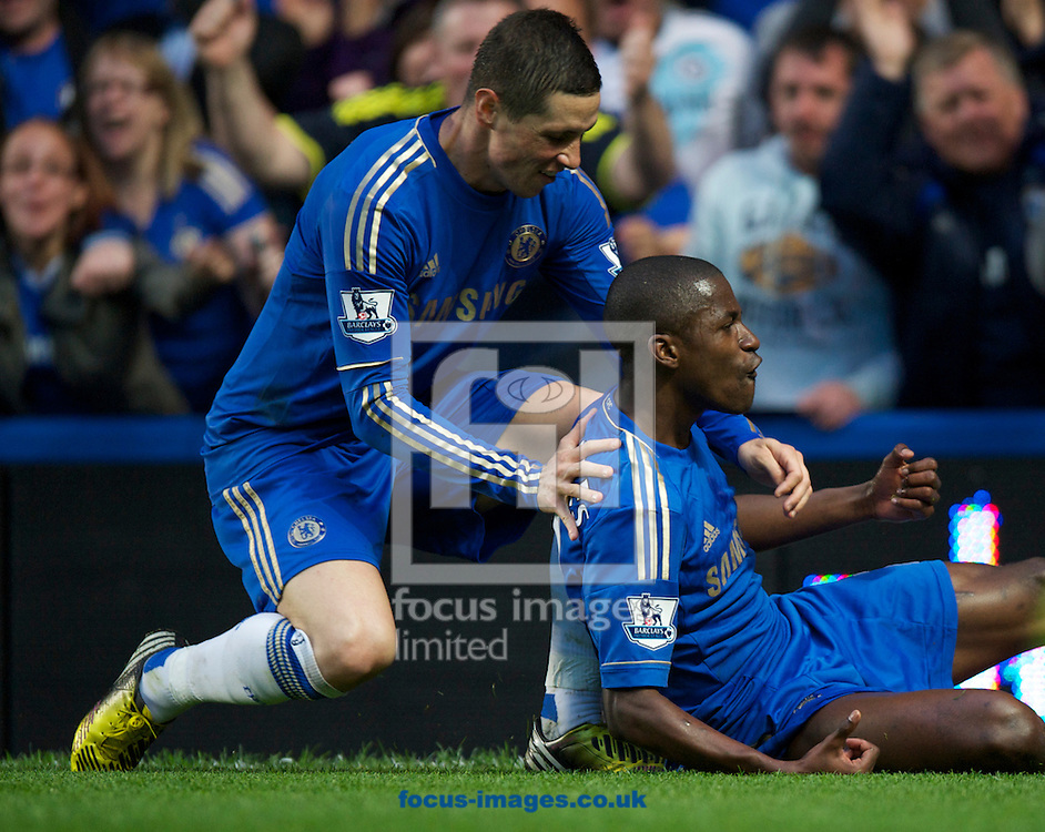 Picture by Alan Stanford/Focus Images Ltd +44 7915 056117.08/05/2013.Ramires of Chelsea a celebrates his goal  with Fernando Torres during the Barclays Premier League match at Stamford Bridge, London..