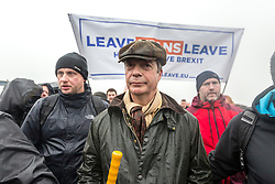 © Licensed to London News Pictures. 16/03/2019. Sunderland UK. Nigel Farage leads the March to Leave this morning which started from Ryhope beach in Sunderland & is a 270 mile walk to London, the march is said to be a peaceful protest to show the level of popular dissatisfaction with the way the Westminster elite are betraying the will of the people. Photo credit: Andrew McCaren/LNP