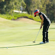 26 March 2018: Haleigh Krause putts the ball on the sixth green during the opening round of the March Mayhem Tournament hosted by SDSU at the Farms Golf Club in Rancho Santa Fe, California. <br /> More game action at sdsuaztecphotos.com