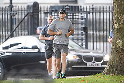 © Licensed to London News Pictures. 20/10/2019. London, UK. Chancellor SAJID JAVID is seen jogging near Downing Street in the early morning. Yesterday Parliament sat on a Saturday for the first time since 1982, but failed to vote on Boris Johnson's new Brexit deal. Photo credit: Ben Cawthra/LNP
