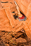 "Steph Davis climbing ""Glad To Be A Trad"" rated 13 in Southern Utah."