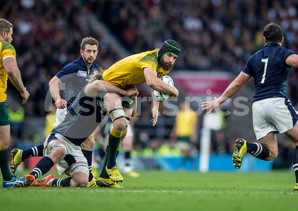 Scott Fardy of Australia during the Rugby World Cup Quarter Final match between Australia and Scotland played at Twickenham Stadium, London on the 18th of October 2015. Photo by Liam McAvoy.