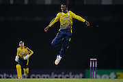 Hampshire T20 all-rounder Darren Sammy celebrating during the NatWest T20 Blast South Group match between Hampshire County Cricket Club and Kent County Cricket Club at the Ageas Bowl, Southampton, United Kingdom on 2 June 2016. Photo by David Vokes.