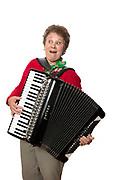 Mature women playing accordion