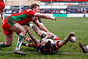 Bradford Bulls interchange George Flanagan (21) scores a try during the Betfred League 1 match between Keighley Cougars and Bradford Bulls at Cougar Park, Keighley, United Kingdom on 11 March 2018. Picture by Simon Davies.