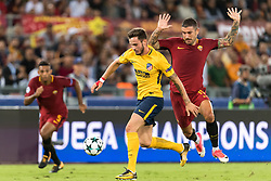 (L-R) Saul Niguez of Club Atletico de Madrid, Aleksandar Kolarov of AS Roma during the UEFA Champions League group C match match between AS Roma and Atletico Madrid on September 12, 2017 at the Stadio Olimpico in Rome, Italy.