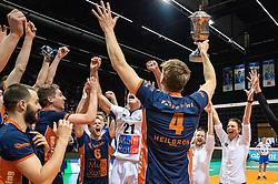 12-05-2019 NED: Abiant Lycurgus - Achterhoek Orion, Groningen<br /> Final Round 5 of 5 Eredivisie volleyball, Orion wins Dutch title after thriller against Lycurgus 3-2 / Joris Marcelis #4 of Orion, Pim Kamps #7 of Orion, Rob Jorna #10 of Orion, Peter Ogink #6 of Orion