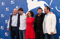 Producer Carlo Degli Esposti, director Raul Arevalo, producer Beatriz Bodegas,  Antonio De La Torre and Luis Callejo at the The Fury of a Patient Man film photocall at the 73rd Venice Film Festival, Sala Grande on Friday September 2nd 2016, Venice Lido, Italy.