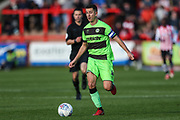 Forest Green Rovers Lloyd James(4) runs forward during the EFL Sky Bet League 2 match between Exeter City and Forest Green Rovers at St James' Park, Exeter, England on 27 October 2018.