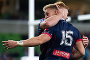 MELBOURNE, AUSTRALIA - APRIL 06: Reece Hodge of the Rebels at round 8 of The Super Rugby match between Melbourne Rebels and Sunwolves on April 06, 2019 at AAMI Park in VIC, Australia. (Photo by Speed Media/Icon Sportswire)