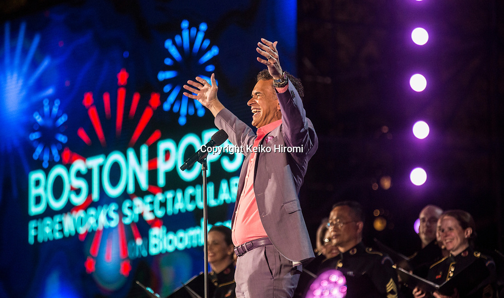 July 3, 2017, Esplanade, Boston, Massachusetts, USA: Brian Strokes Mitchell performing during a rehearsal concert for the annual Boston Pops Fireworks Spectacular on the Esplanade in Boston.