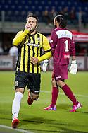 ZWOLLE, PEC Zwolle - Vitesse, voetbal, playoff Europa League, seizoen 2014-2015, 21-05-2015, IJsseldelta Stadion, Vitesse speler Valeri Qazaishvili (L) heeft de 1-2 gescoord, PEC Zwolle keeper Warner Hahn (R) baalt.