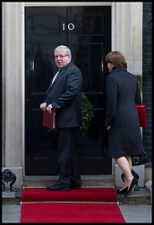 Patrick McLoughlin Secretary of State for Transport with Maria Miller.Secretary of State for Culture, Media and Sport arrives to attend the Government's weekly Cabinet meeting at Number 10 Downing Street No 10 Downing Street, London, UK, December 18, 2012. Photo By Andrew Parsons / i-Images.<br />