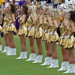 19 September 2009:  The LSU Golden Girls dancers perform on the field before the start of a 31-3 win by the LSU Tigers over the University of Louisiana-Lafayette Ragin Cajuns at Tiger Stadium in Baton Rouge, Louisiana.