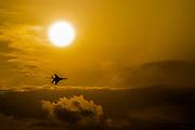 Israeli Air force (IAF) Fighter jet F-15I (Raam) in flight at dusk