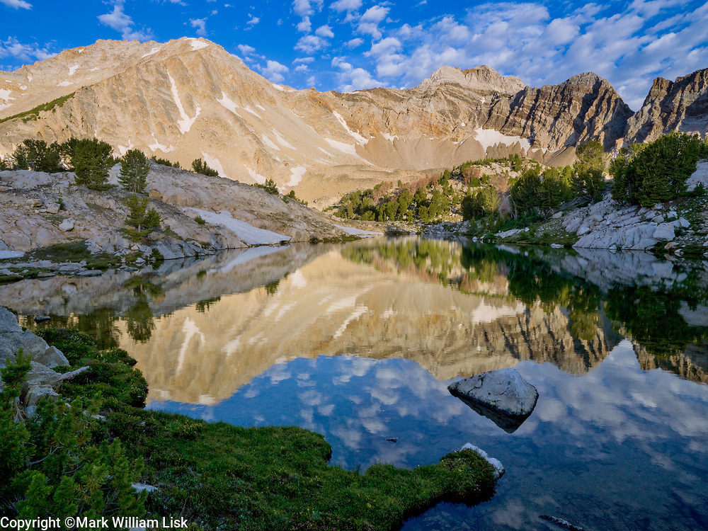 Calkens Peak reflects into Quartzite Lake, White Cloud Range.
