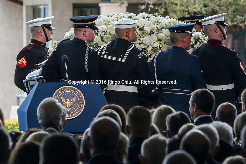 Honor guards carrying the casket leave the funeral service for the former first lady Nancy Reagan at the Ronald Reagan Presidential Library and Museum in Simi Valley, California on March 11, 2016. Reagan died of congestive heart failure in her sleep at her Bel Air home Sunday at age 94. A bout 1,000 guests from the world of politics attended the final farewell to Nancy Reagan as the former first lady is eulogized and laid to rest next to her husband at his presidential library.<br />    (Photo by Ringo Chiu/PHOTOFORMULA.com)<br /> <br /> Usage Notes: This content is intended for editorial use only. For other uses, additional clearances may be required.