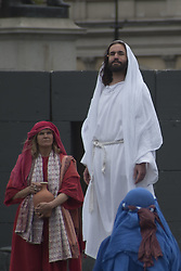 April 14, 2017 - London, England, United Kingdom - The Wintershall Players perform 'The Passion of Jesus' in front of crowds on Good Friday in Trafalgar Square on April 14, 2017 in London, England. Good Friday is a Christian holiday preceding Easter Sunday which commemorates the crucifixion of Jesus Christ. The Wintershall Players theatrical group mark the occasion with a reenactment of the Passion of Jesus. (Credit Image: © Alberto Pezzali/NurPhoto via ZUMA Press)