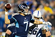 NASHVILLE, TN - DECEMBER 30:  Blaine Gabbert #7 of the Tennessee Titans throws a pass during a game against the Indianapolis Colts at Nissan Stadium on December 30, 2018 in Nashville, Tennessee.  The Colts defeated the Titans 33-17.   (Photo by Wesley Hitt/Getty Images) *** Local Caption *** Blaine Gabbert