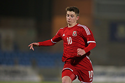 BALLYMENA, NORTHERN IRELAND - Thursday, November 20, 2014: Wales' Ben Woodburn in action against Northern Ireland during the Under-16's Victory Shield International match at the Ballymena Showgrounds. (Pic by David Rawcliffe/Propaganda)
