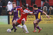 Jack Barthram, Tomi Adeloye and Jack Munns during the Vanarama National League match between Welling United and Cheltenham Town at Park View Road, Welling, United Kingdom on 5 March 2016. Photo by Antony Thompson.