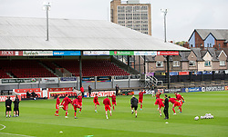 NEWPORT, WALES - Tuesday, October 16, 2018: Wales warm up ahead of the UEFA Under-21 Championship Italy 2019 Qualifying Group B match between Wales and Switzerland at Rodney Parade. (Pic by Laura Malkin/Propaganda)