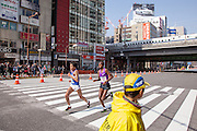 Eritrean runner MEDHIN, Teklemariam Medhin  Number 10) trails the elite runners during the 10th Tokyo Marathon took place on a fine spring day in Tokyo Japan. Sunday February 28th 2016. Thirty-six thousand runners took part with Ethiopian,  Feyisa Lilesa winning the  men's competition and  Kenyan, Helah Kiprop victorious in the women's race.